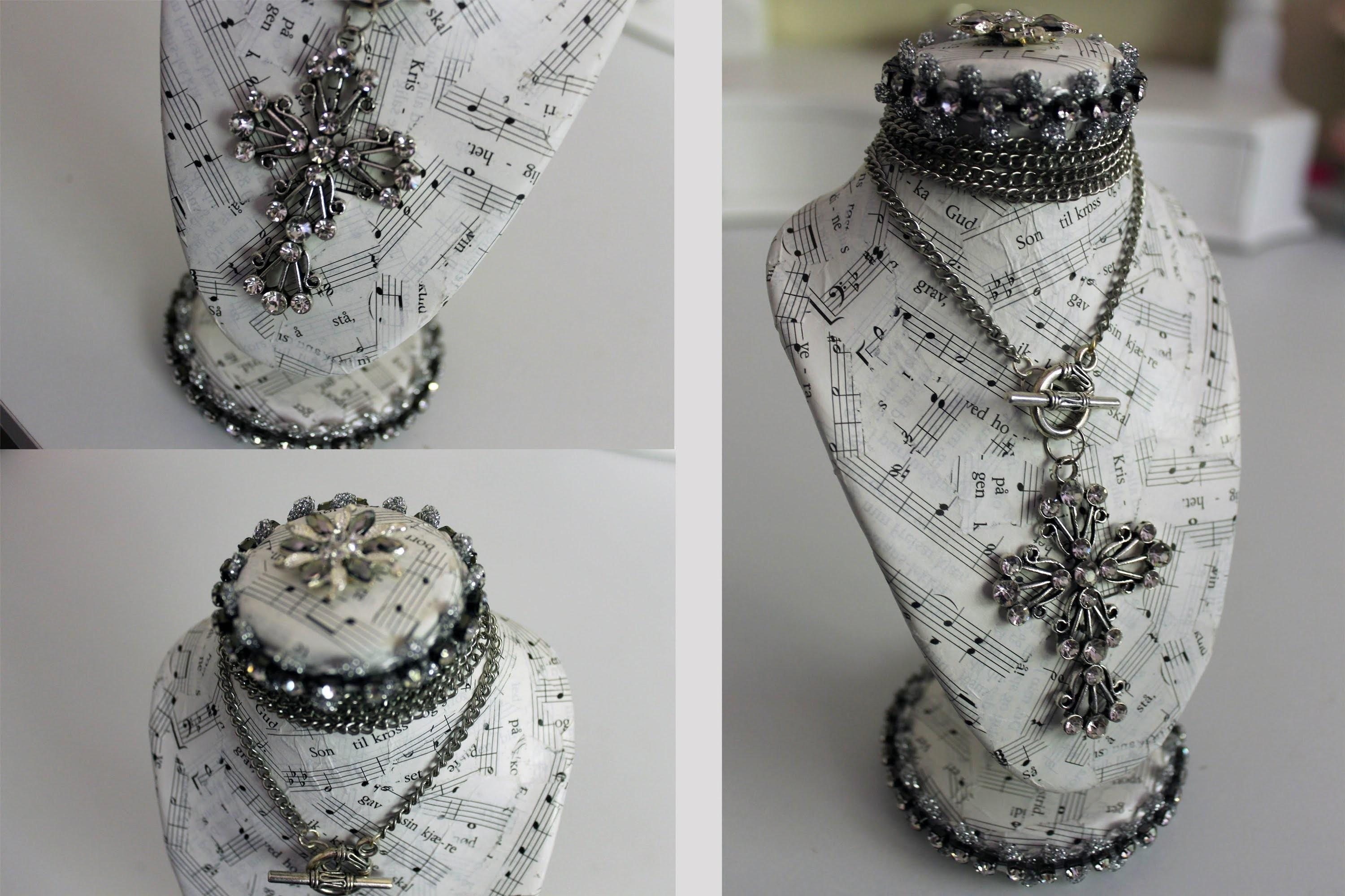 Vintage Chic Altered Jewelry Bust Display Shabbylishious