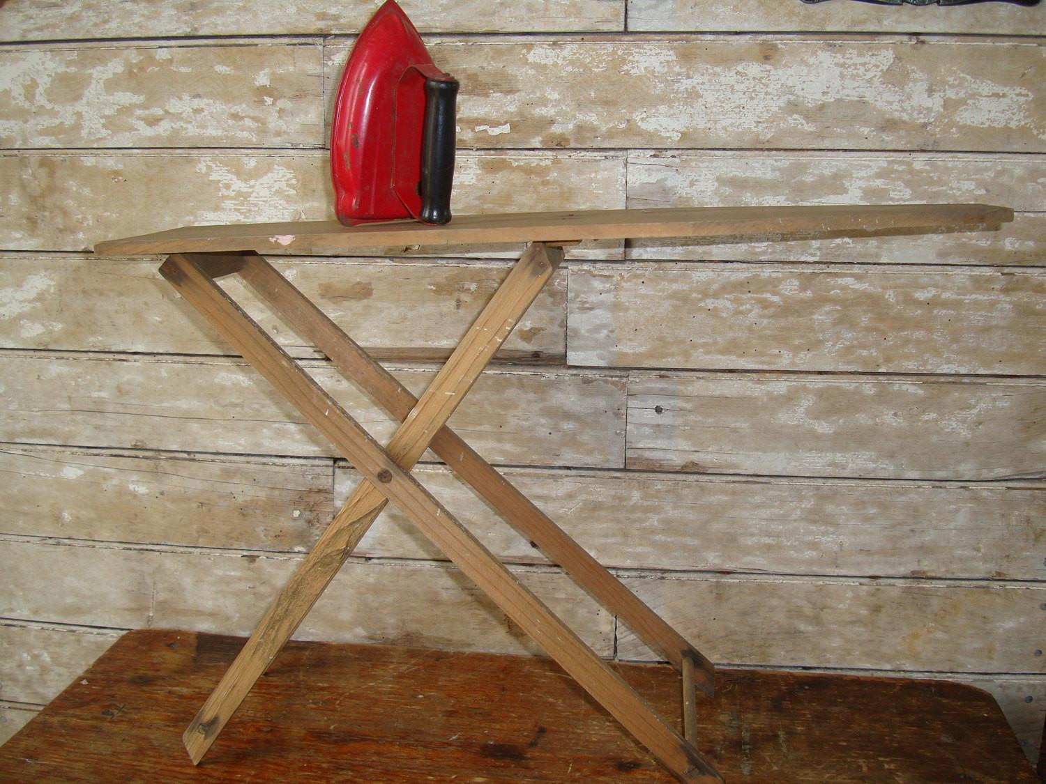 Vintage Childs Wooden Ironing Board Shabby Chic Red Iron