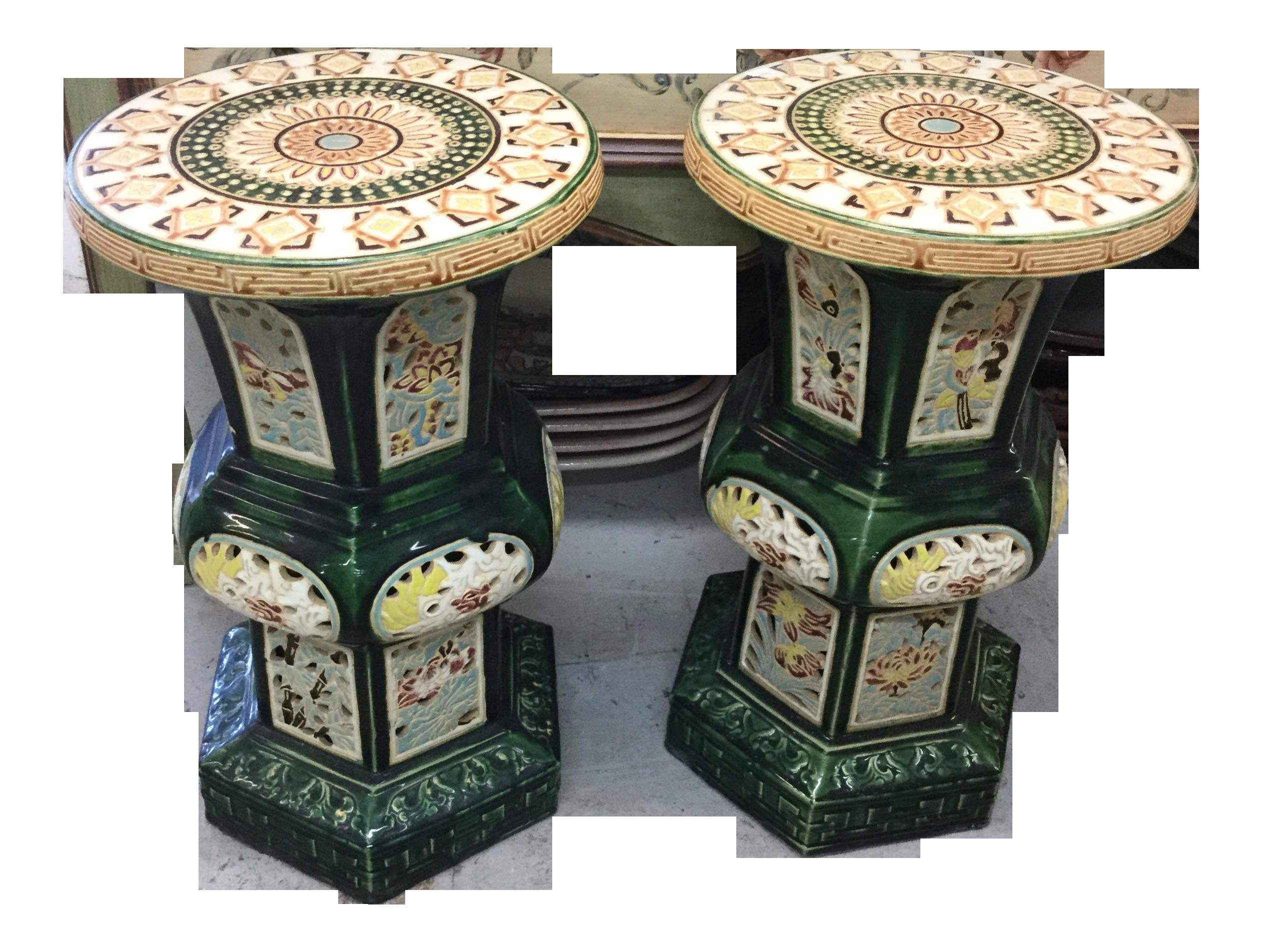 Vintage Chinese Garden Stools Pair Chairish