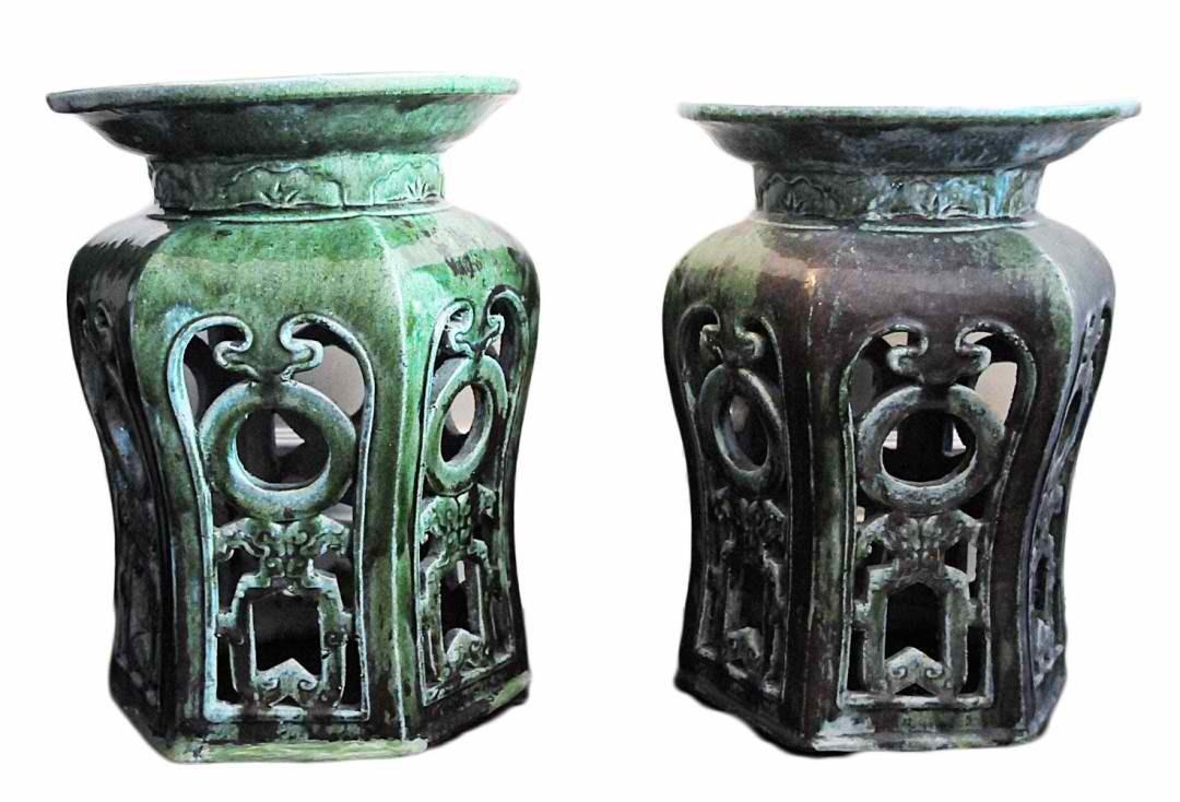 Vintage Chinese Garden Stools Pair Omero Home