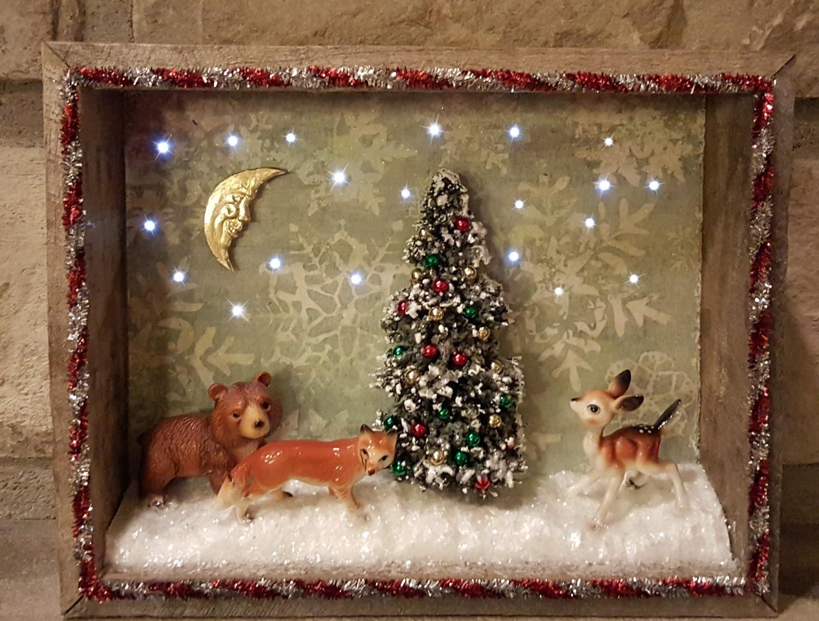 Vintage Christmas Shadowbox Lights Createncraft