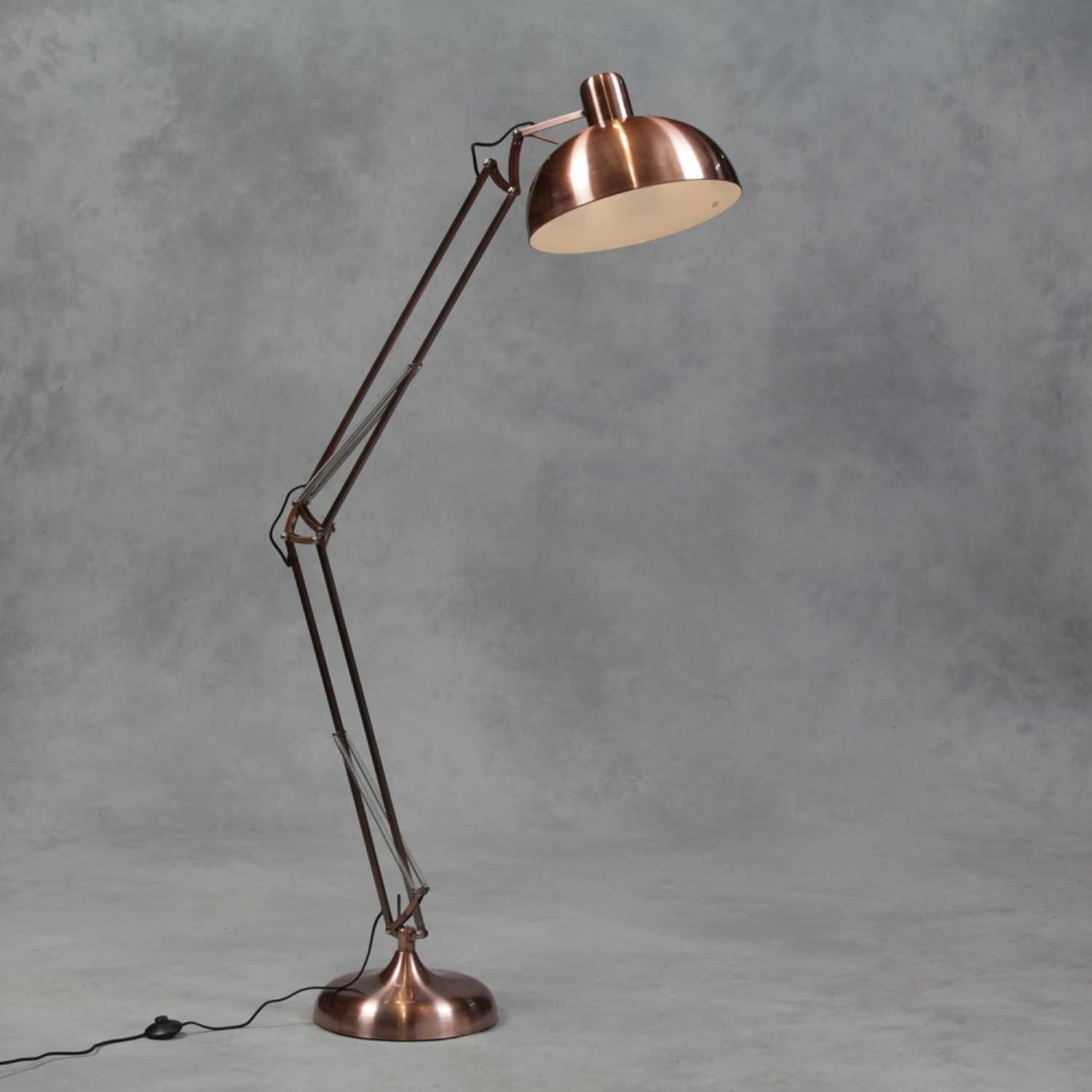 Vintage Copper Large Classic Desk Style Angled Floor Lamp