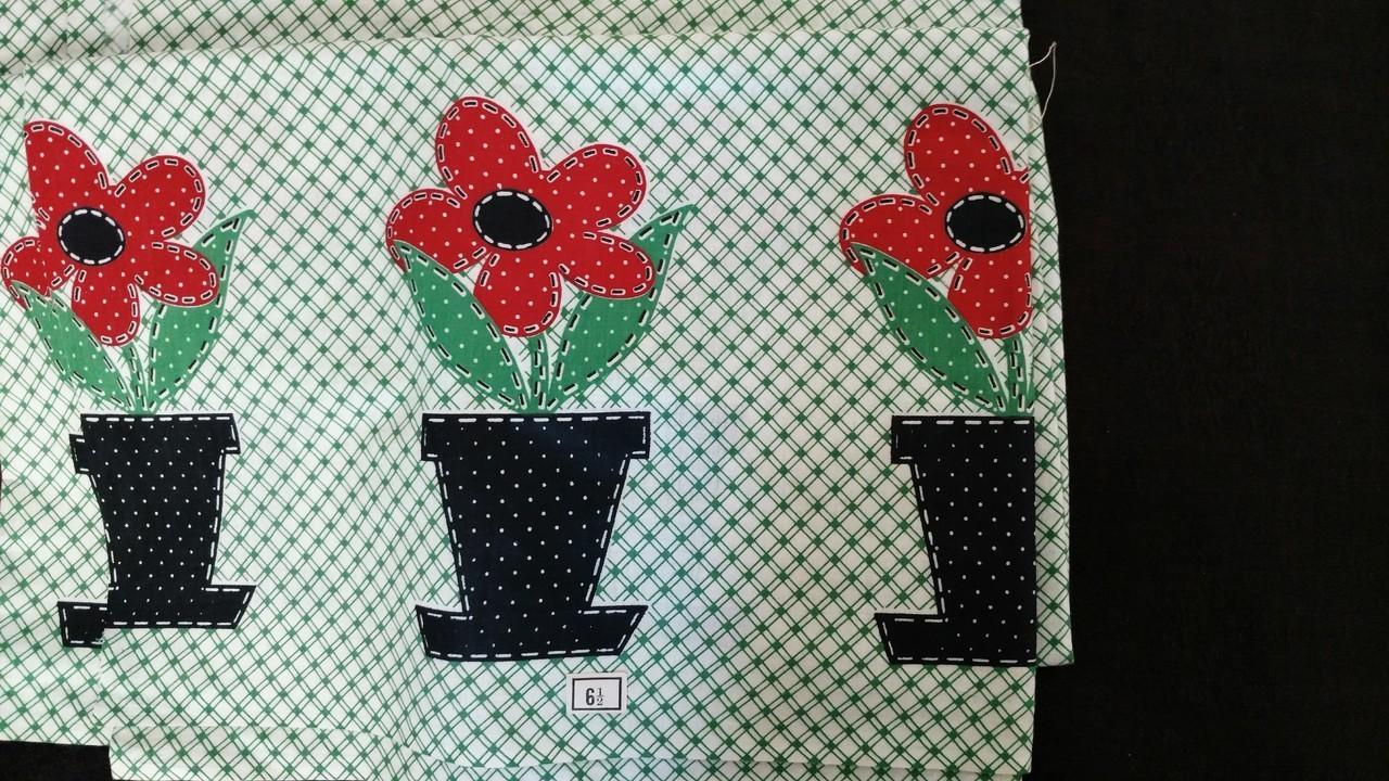 Vintage Cotton Fabric Yardage Green White Flower Pots 1930