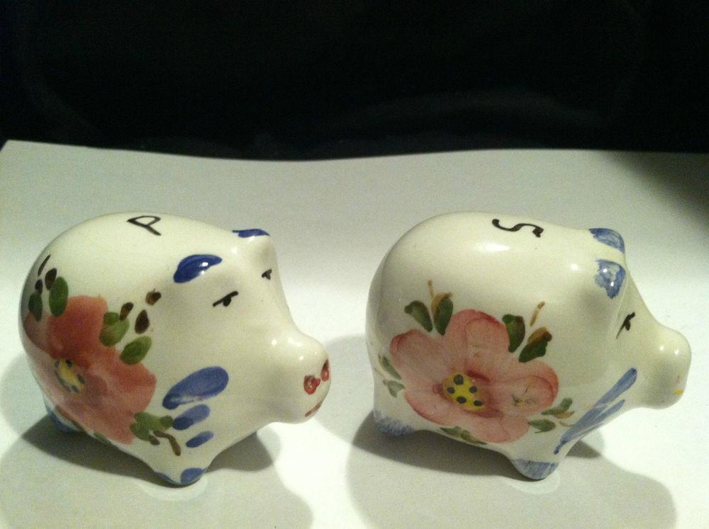 Vintage Country Kitchen Floral Pig Salt Pepper Shakers