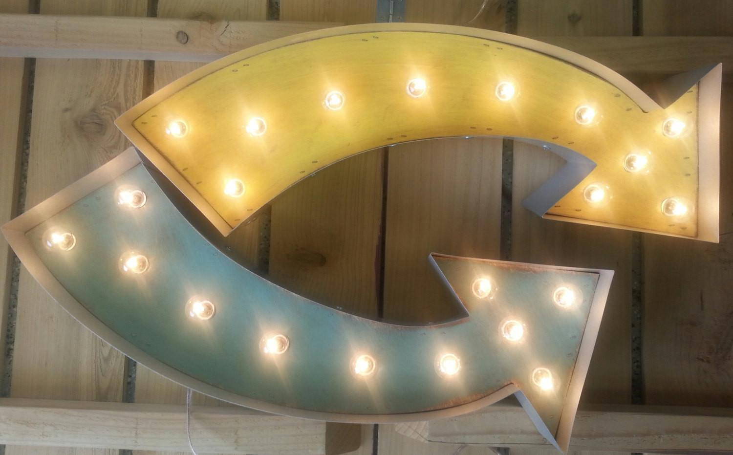 Vintage Curved Arrow Lighted Marquee