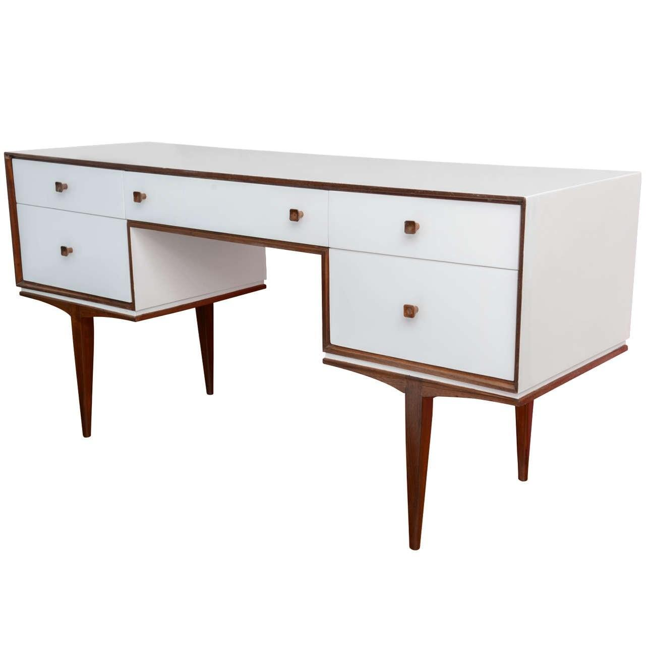 Vintage Danish Modern Teak White Lacquered Writing