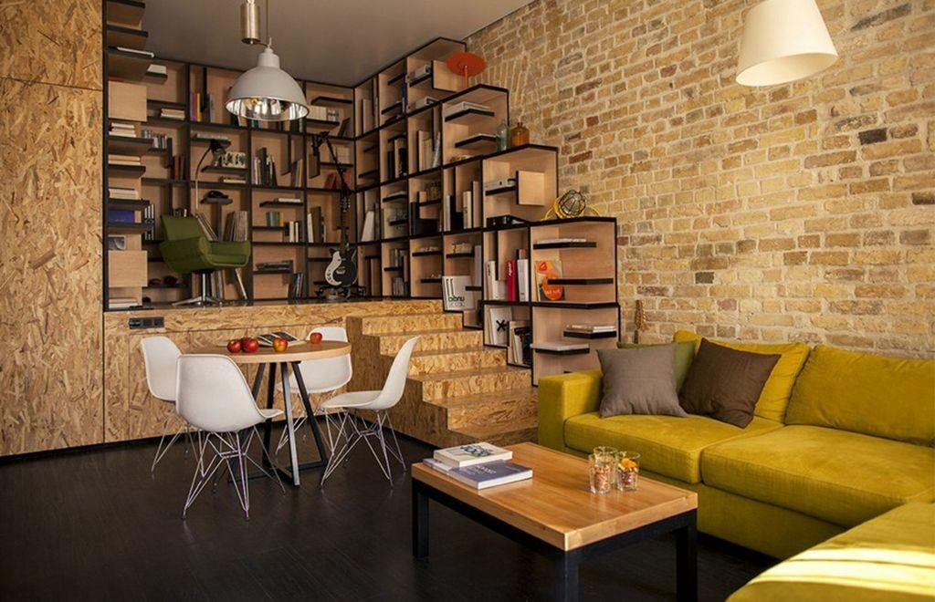Vintage Exposed Brick Wall Living Room Interior Decor