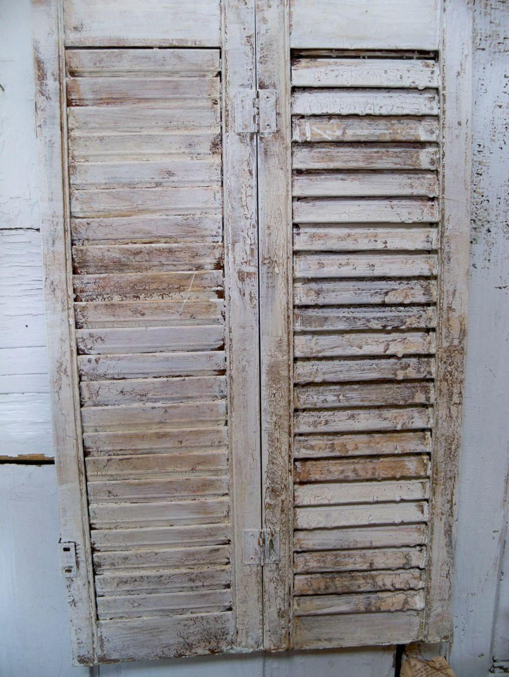 Vintage Farmhouse Wooden Distressed Shutter Shabby Chic Home