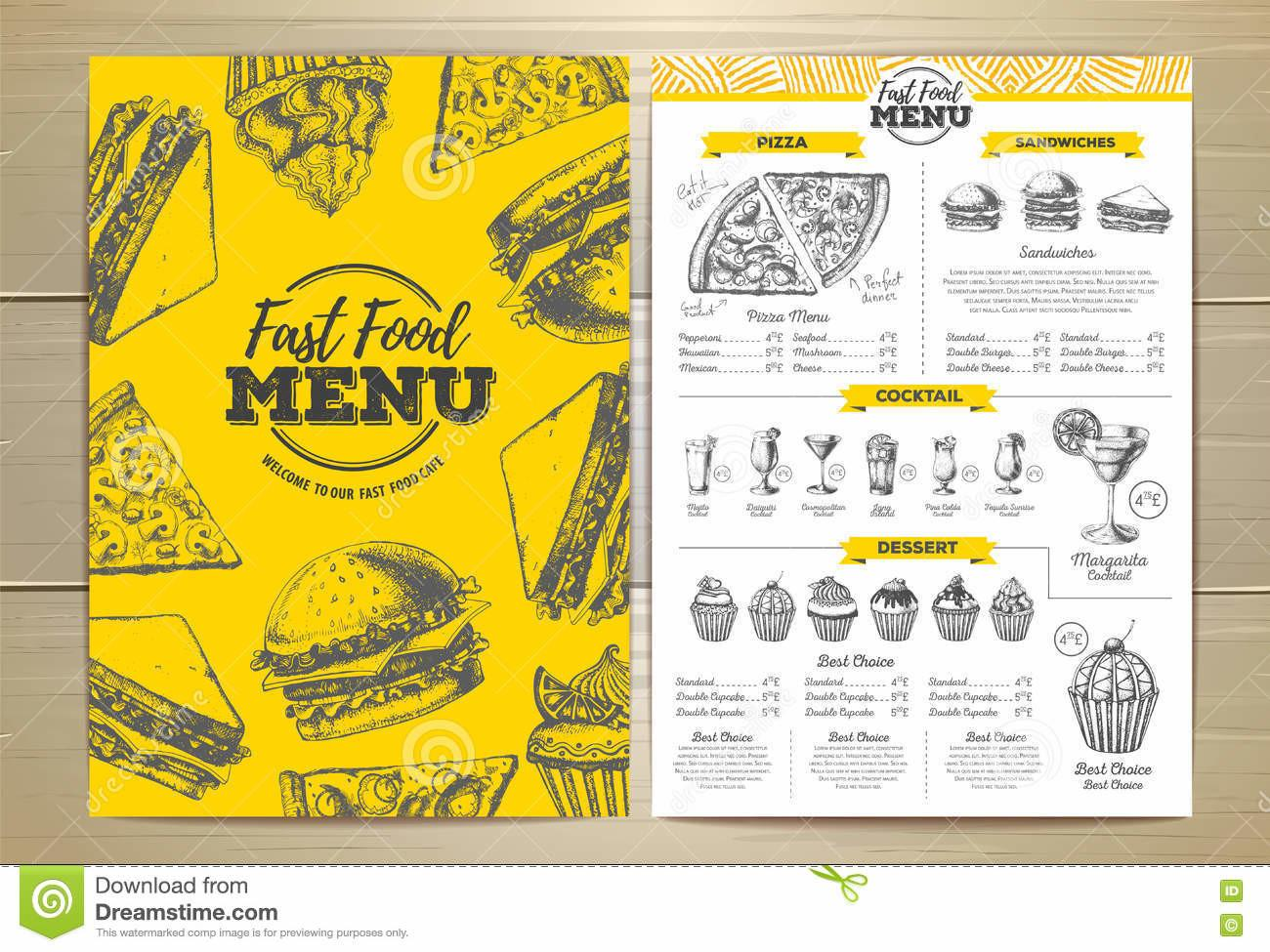 Vintage Fast Food Menu Design Stock Vector