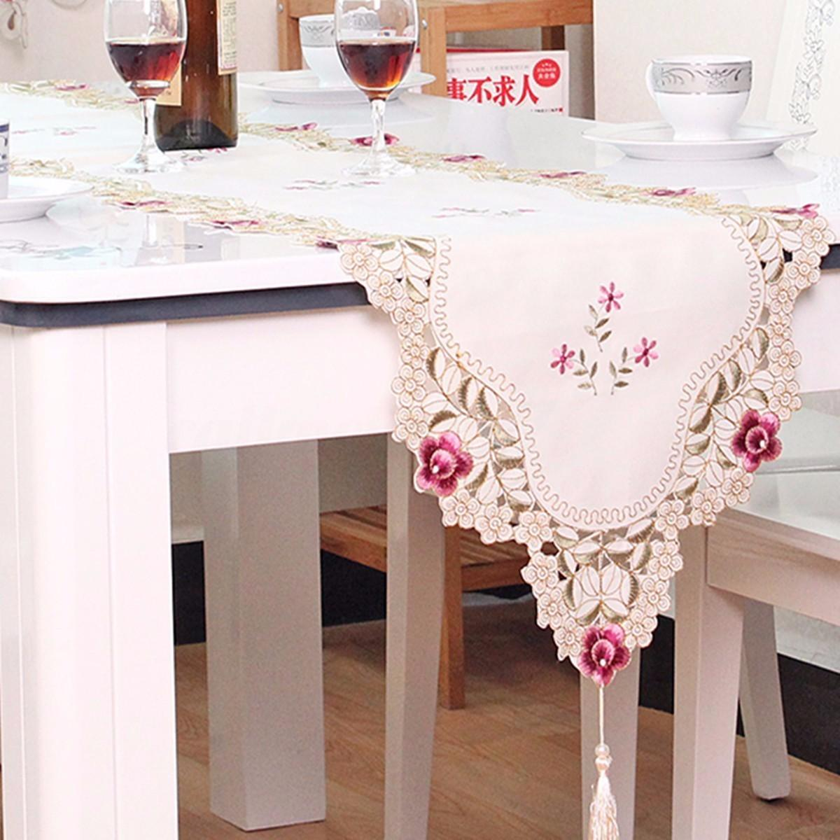 Vintage Floral Embroidery Tassel Edges Table Runner Cover