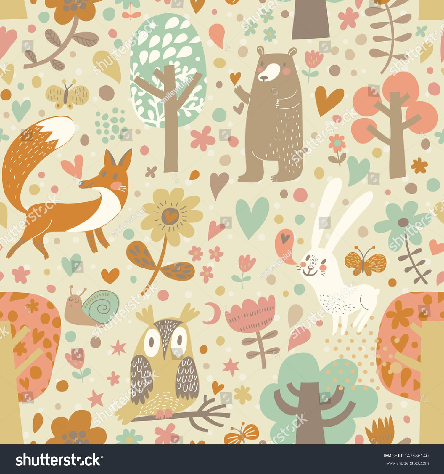Vintage Floral Seamless Pattern Forest Animals Bear