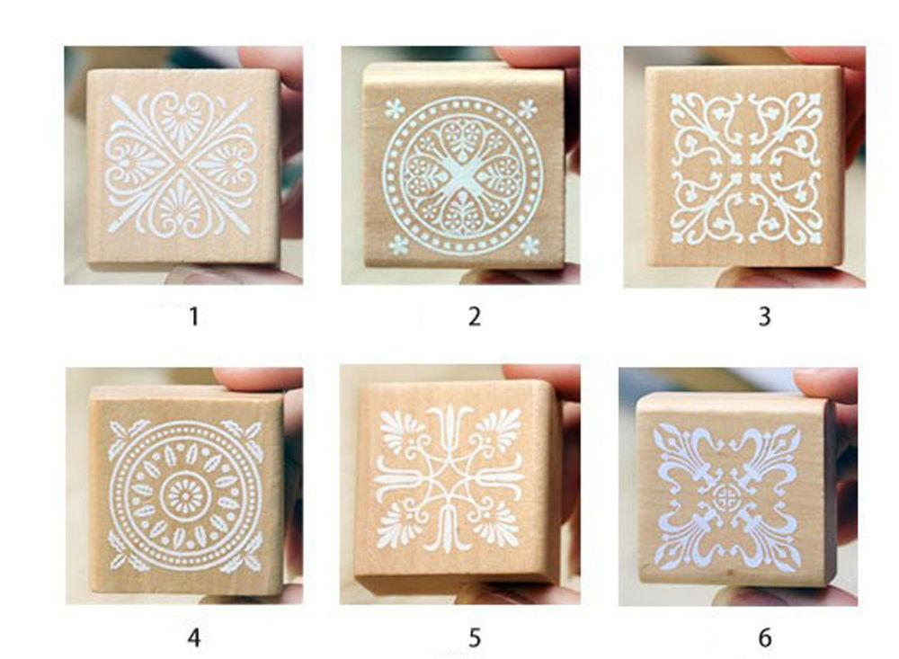 Vintage Flower Lace Square Wooden Rubber Stamp Seal