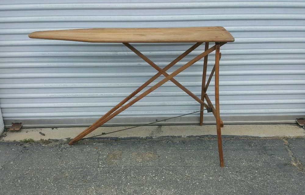 Vintage Folding Ironing Board Wooden Table Decor Country