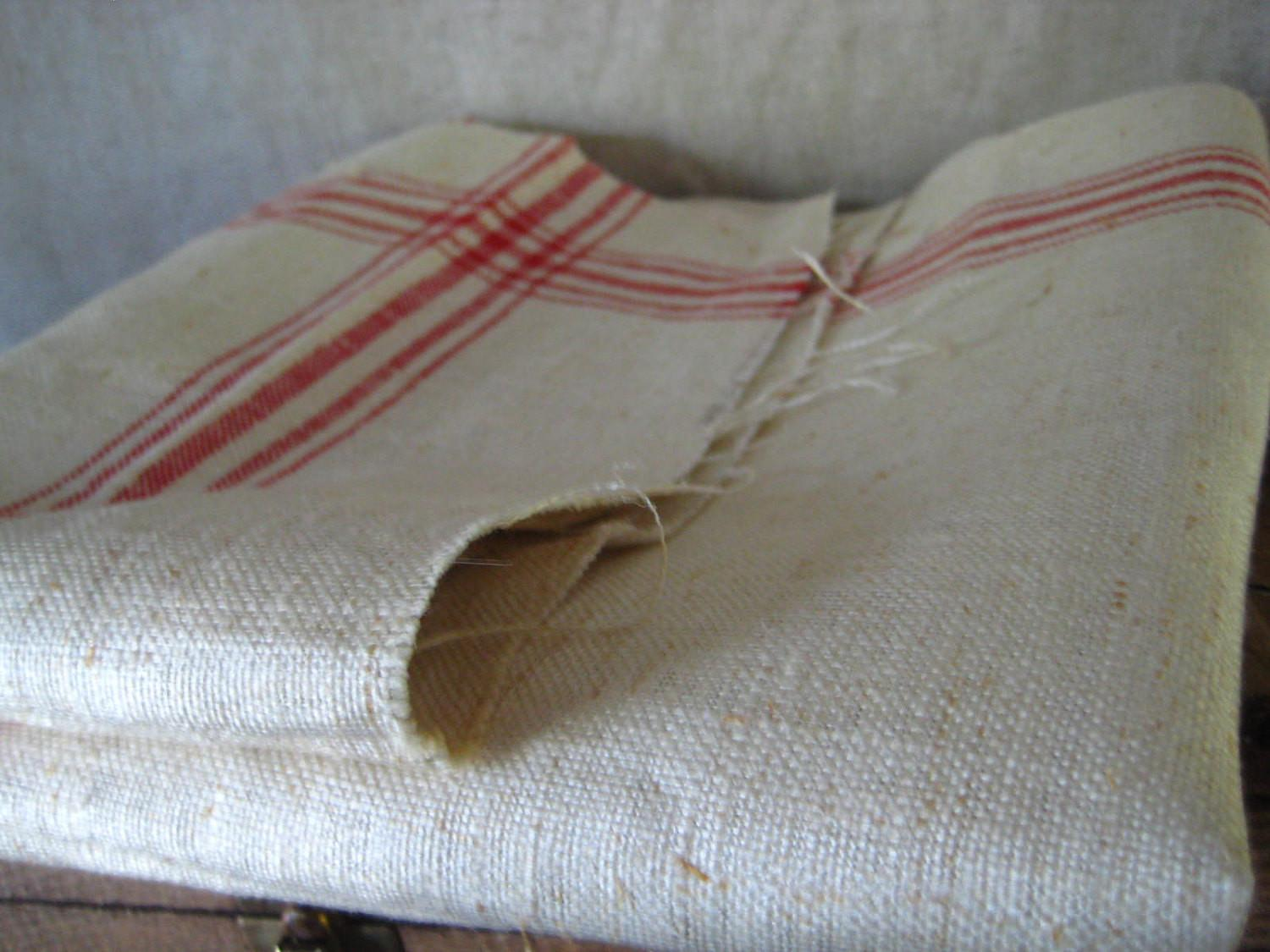 Vintage French Linen Fabric Red Stripes Diy Last One