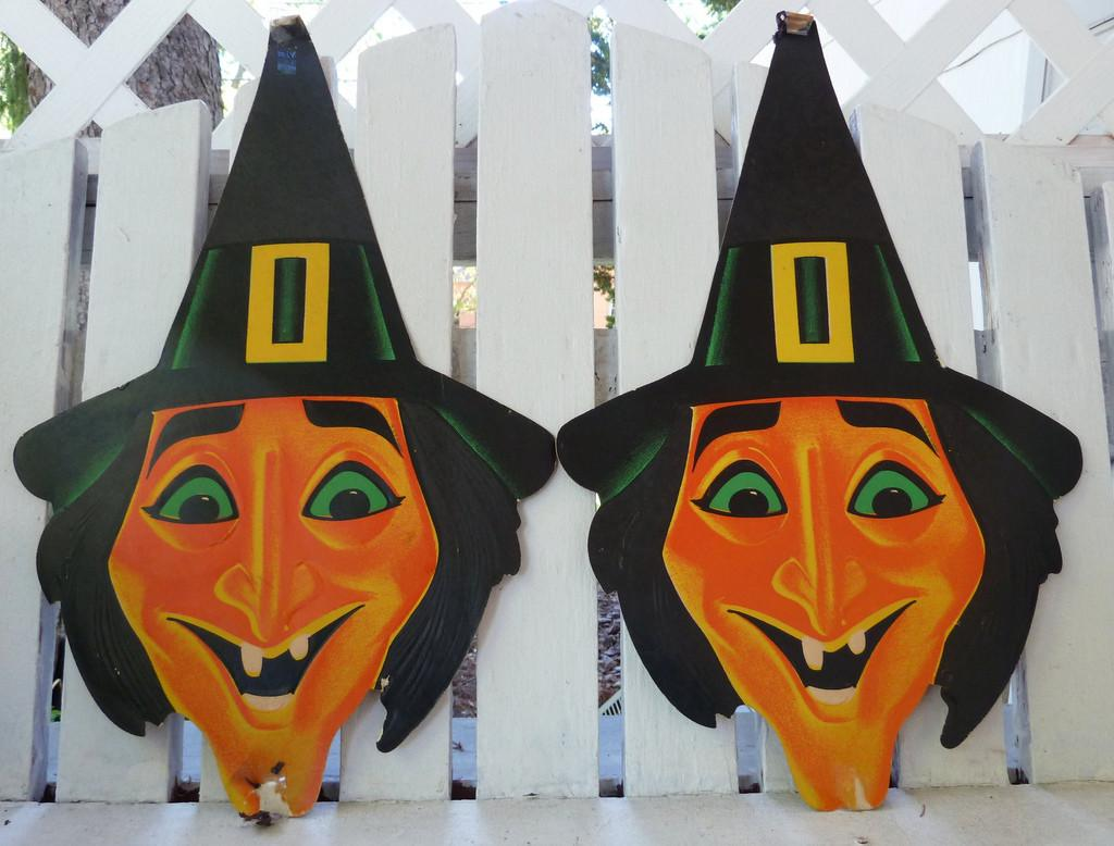 Vintage Halloween Decorations Witch Die Cuts One