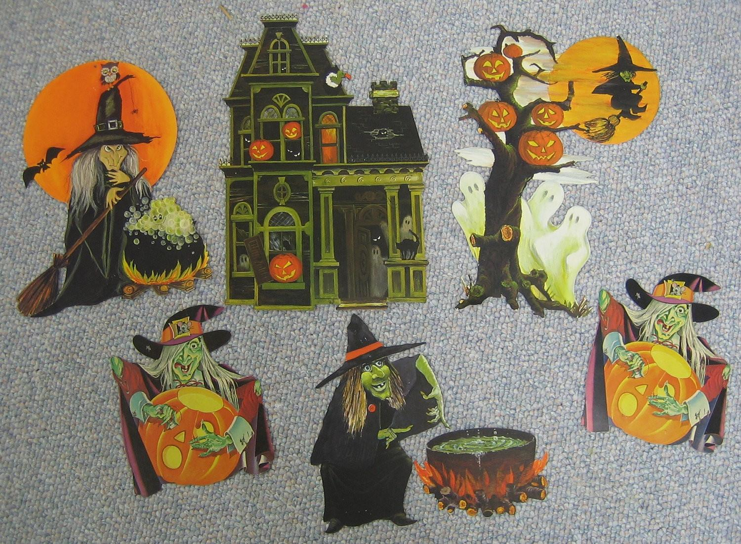 Vintage Halloween Decorations Witches Rswvintage Etsy