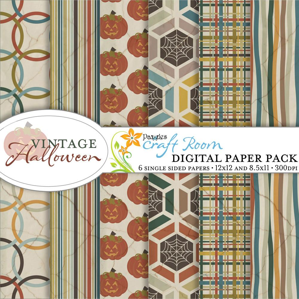 Vintage Halloween Digital Paper Pack Pazzles Craft Room