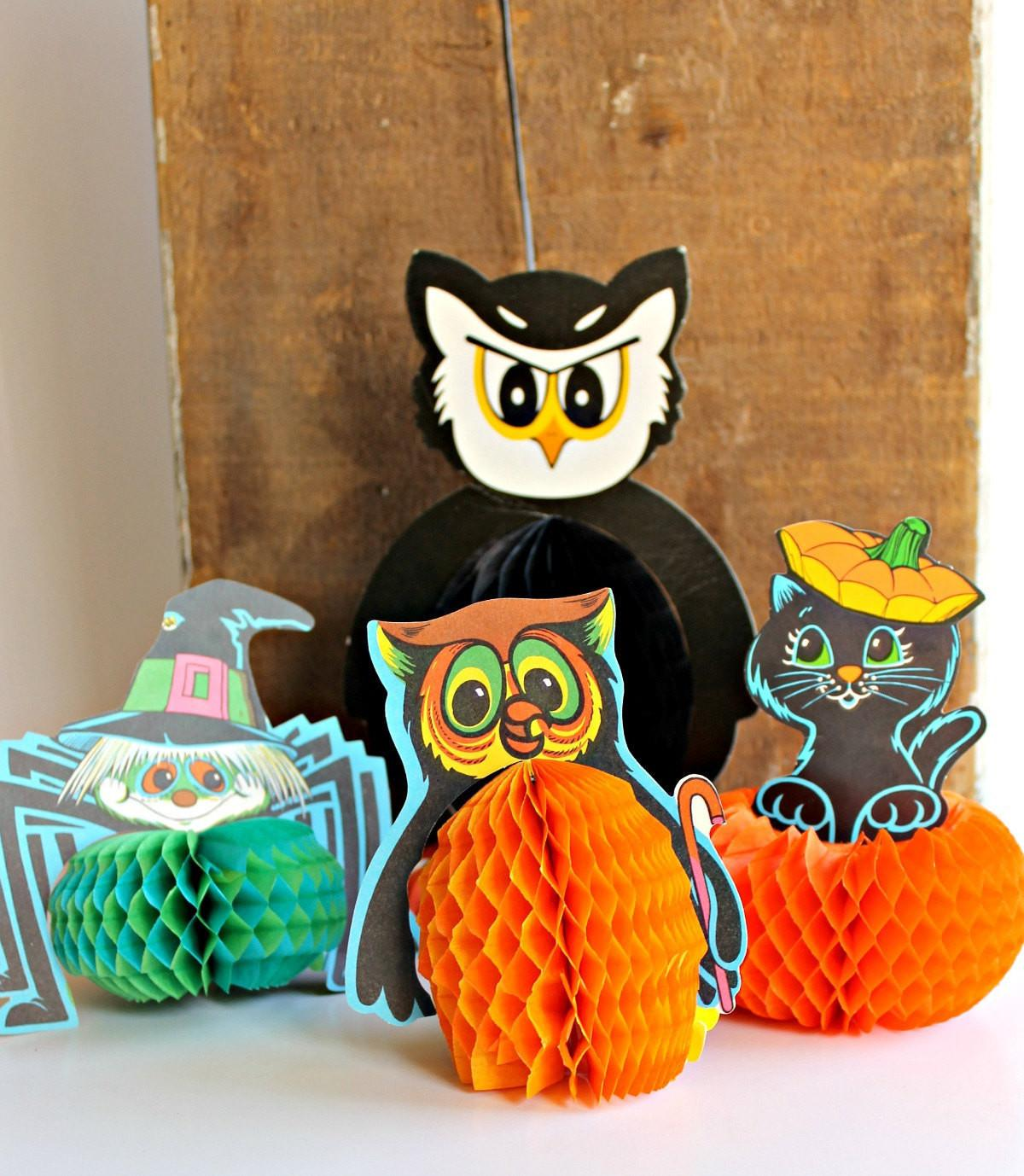 Vintage Halloween Honeycomb Paper Decorations