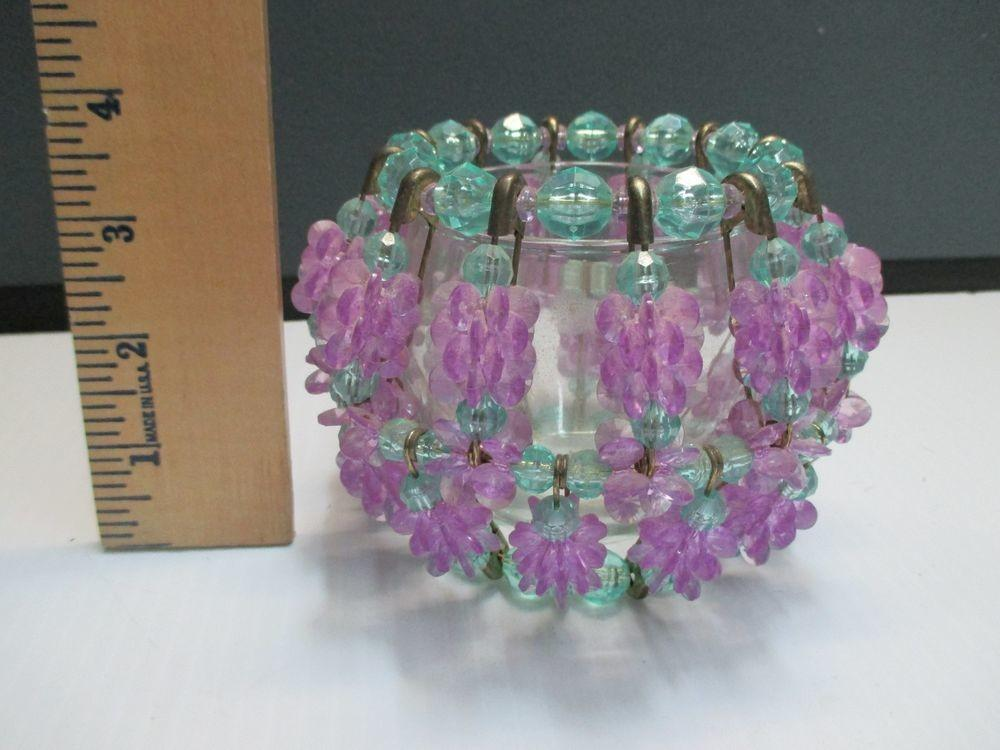 Vintage Handmade Beaded Candle Holder Safety Pin