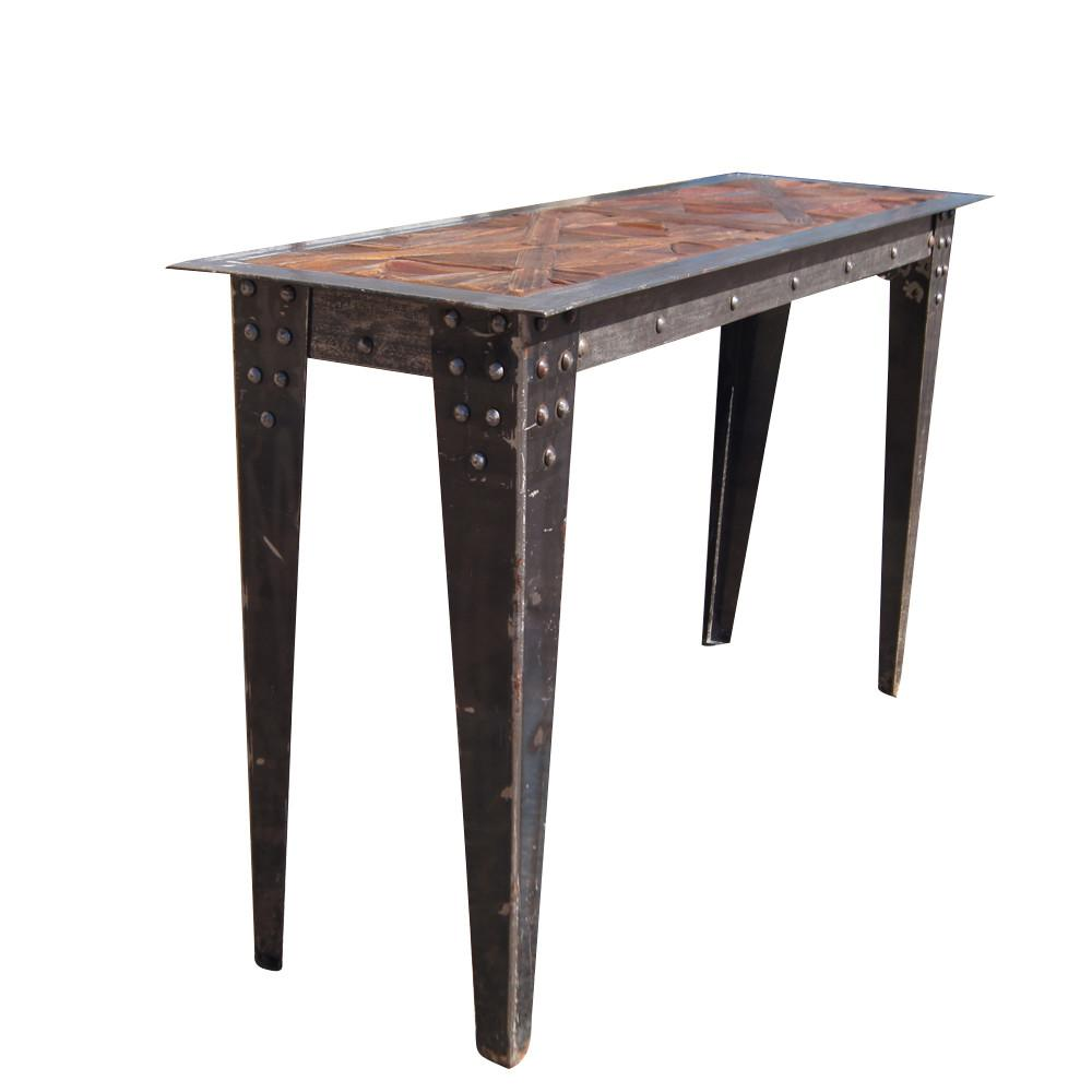 Vintage Heavy Industrial Steel Wood Console Table