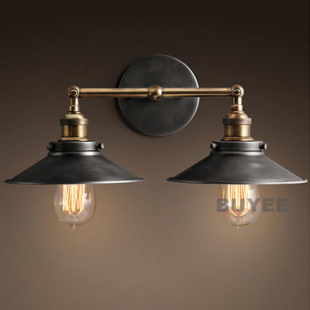 Vintage Industrial Cafe Metal Black Double Rustic Sconce