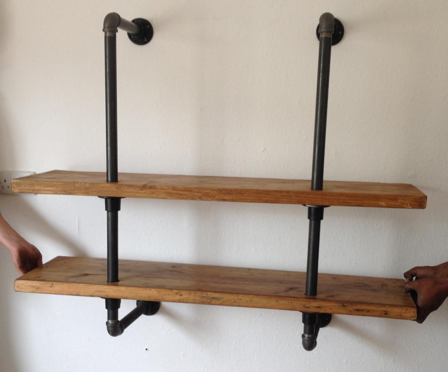Vintage Industrial Reclaimed Gas Pipe Shelving Unit