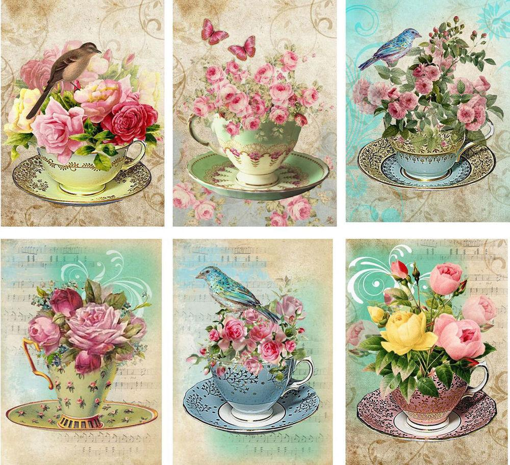 Vintage Inspired Tea Cup Birds Roses Card Atc Altered