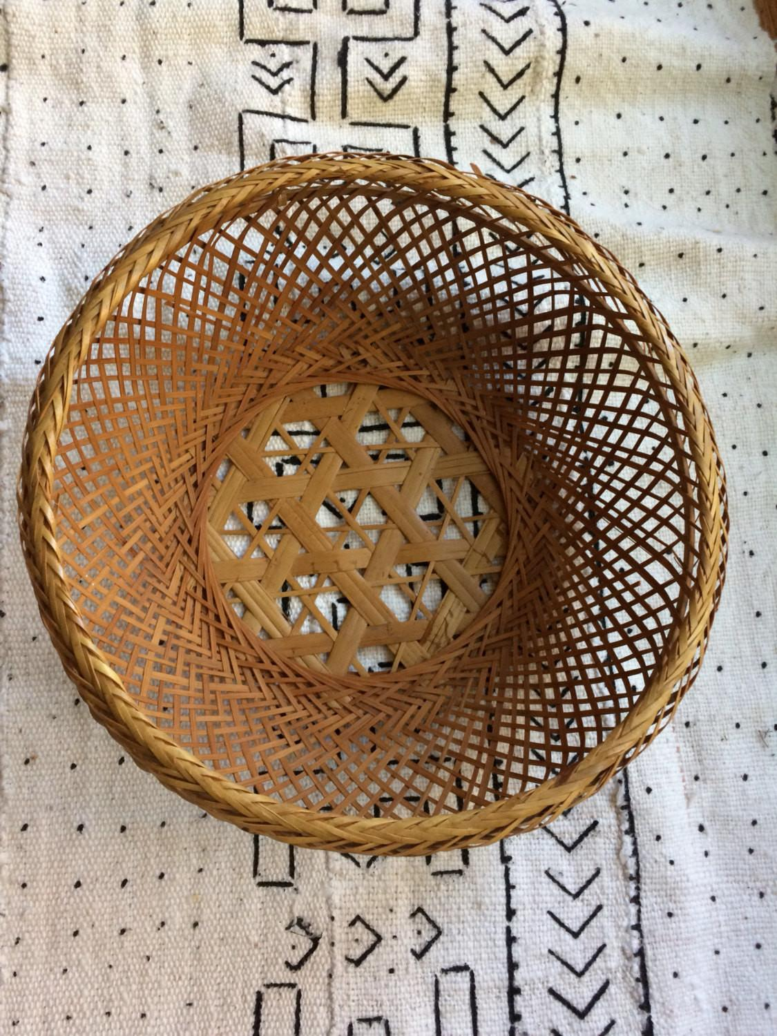 Vintage Japanese Bamboo Rattan Wicker Basket Wall Decor