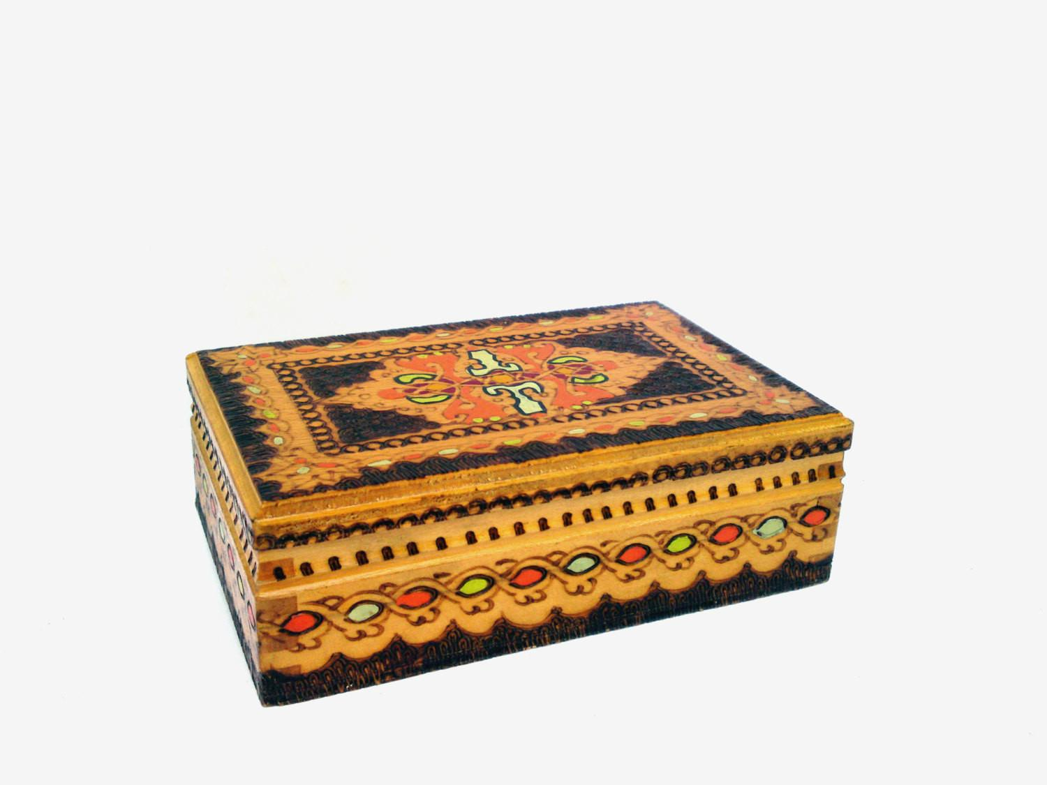 Vintage Jewelry Wooden Box Retro Handmade