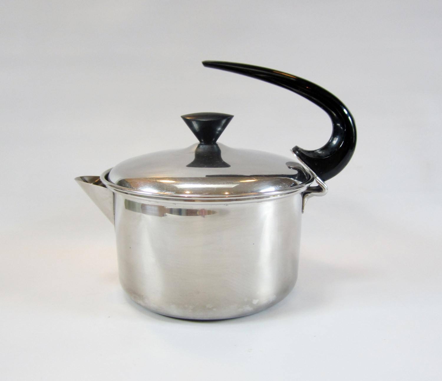 Vintage Kettle Space Age Teapot Stainless Steel 1960s