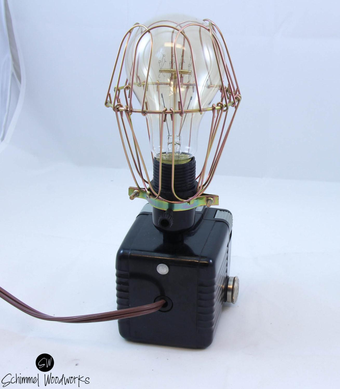 Vintage Kodak Brownie Hawkeye Camera Lamp Wire Cage