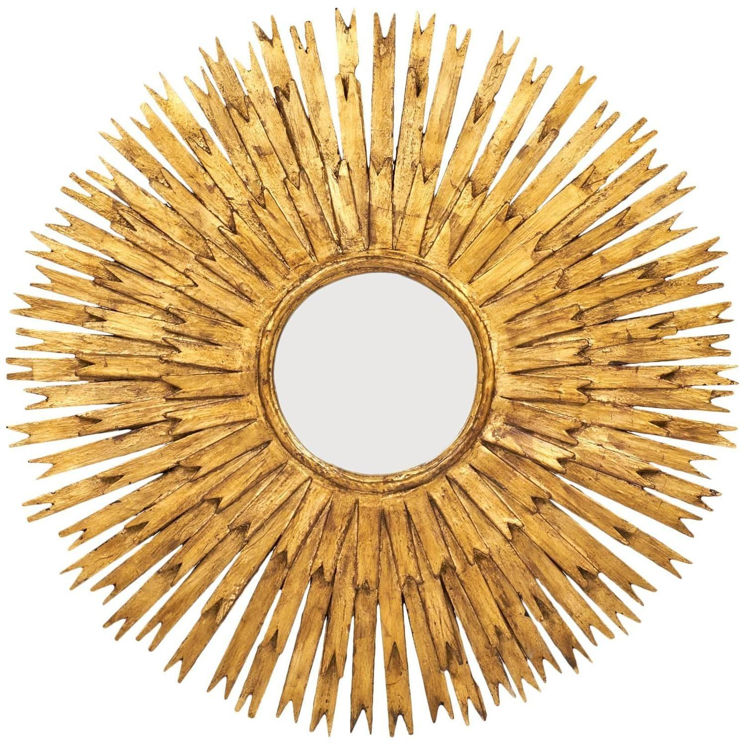 Vintage Large Gold Leaf Sunburst Mirror Jean Marc Fray