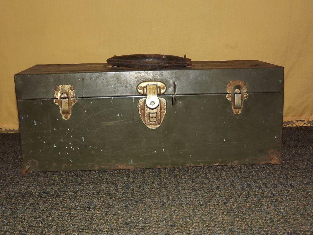 Vintage Long Leather Handle Green Tool Box Union Steel