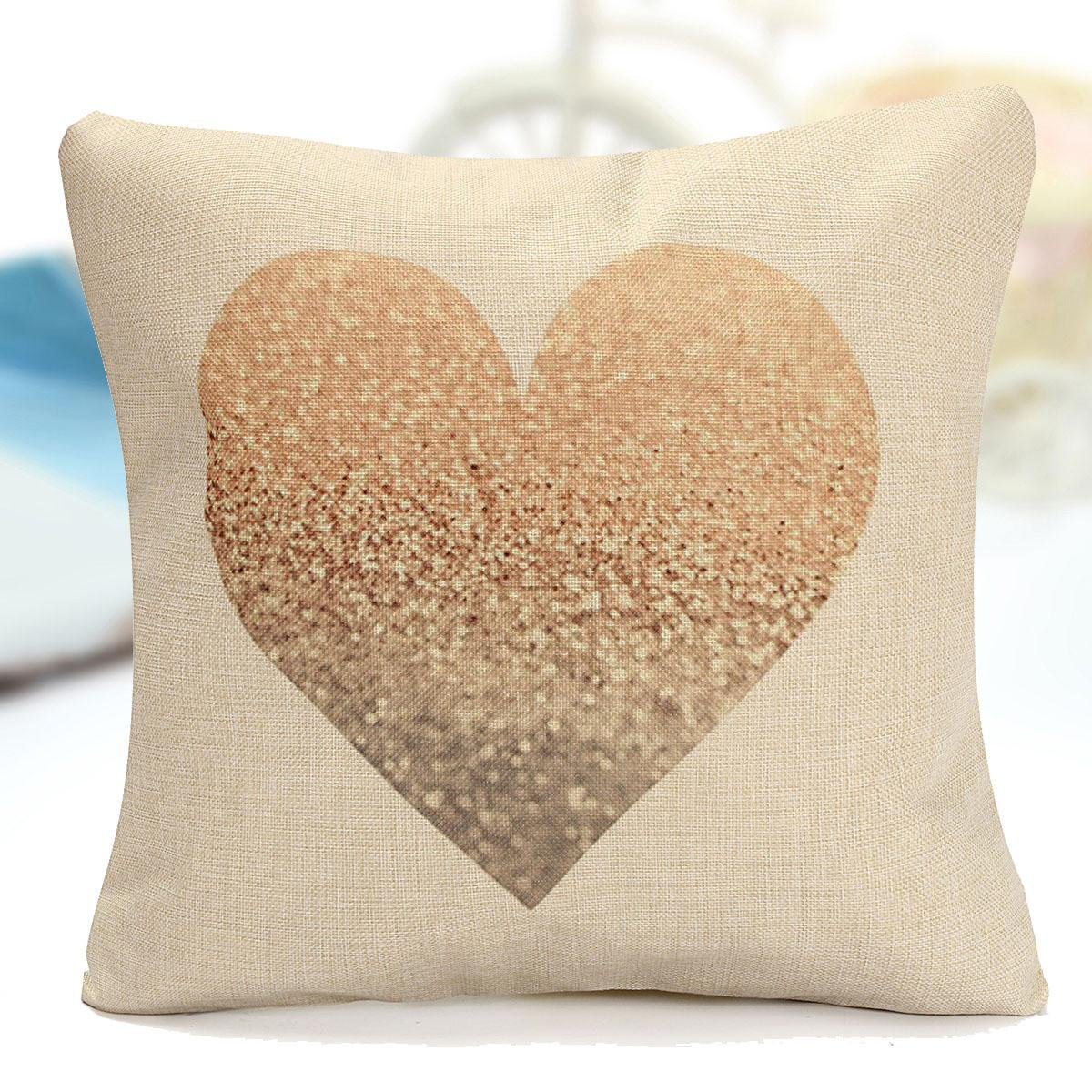 Vintage Love Heart Cotton Linen Cushion Cover Throw Pillow