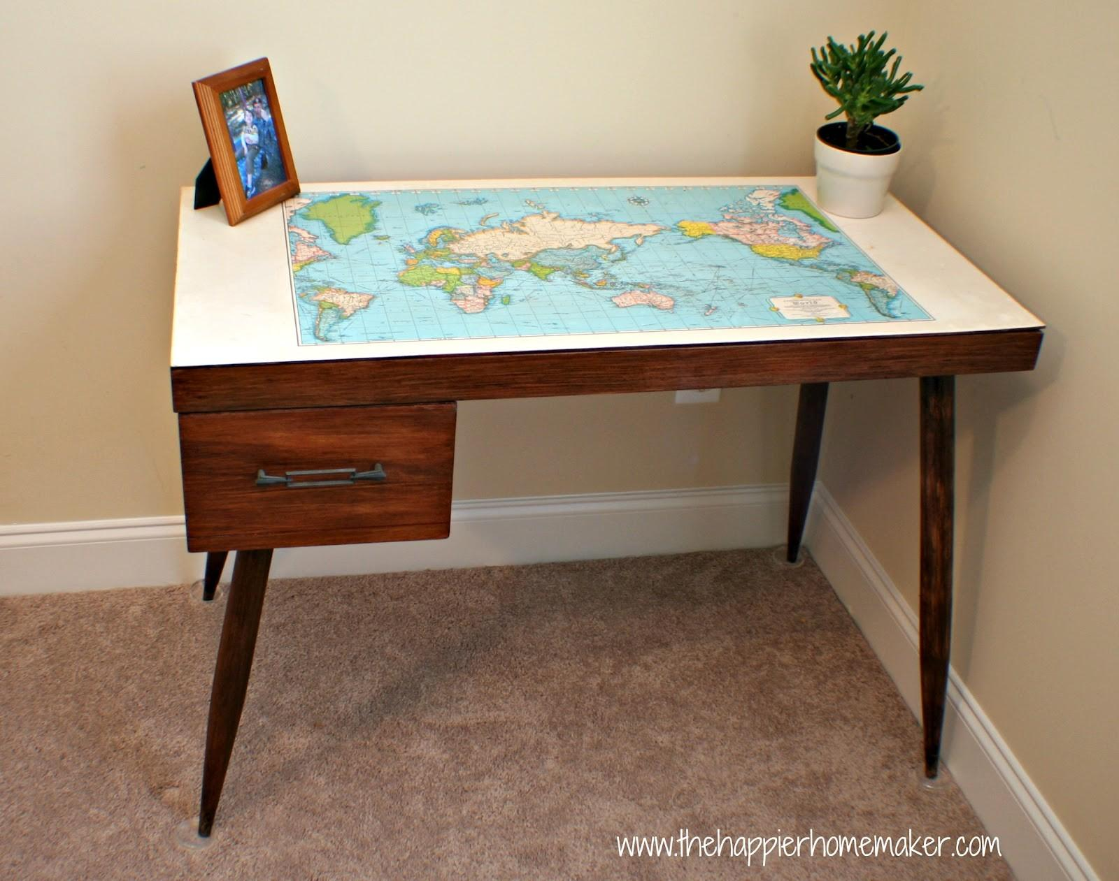 Vintage Map Desk Makeover Happier Homemaker