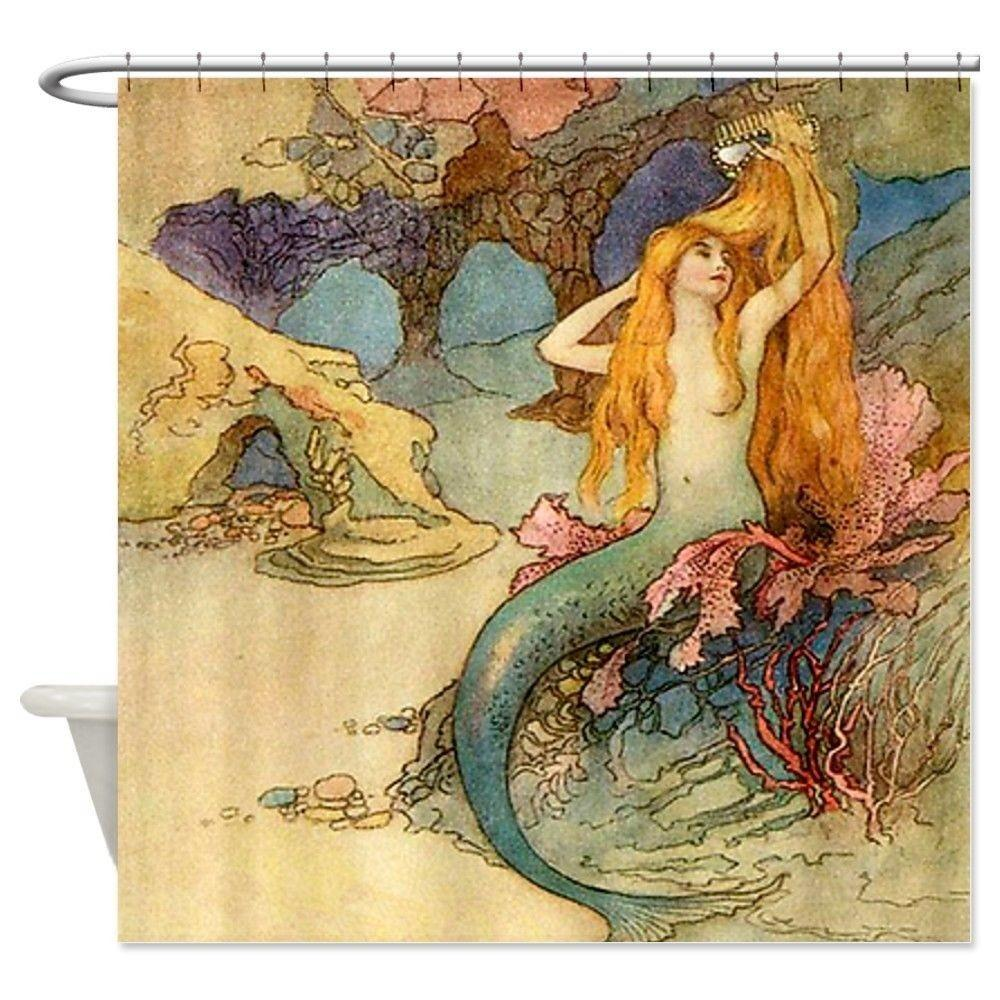Vintage Mermaid Shower Curtain Art Bathroom Bath Decor