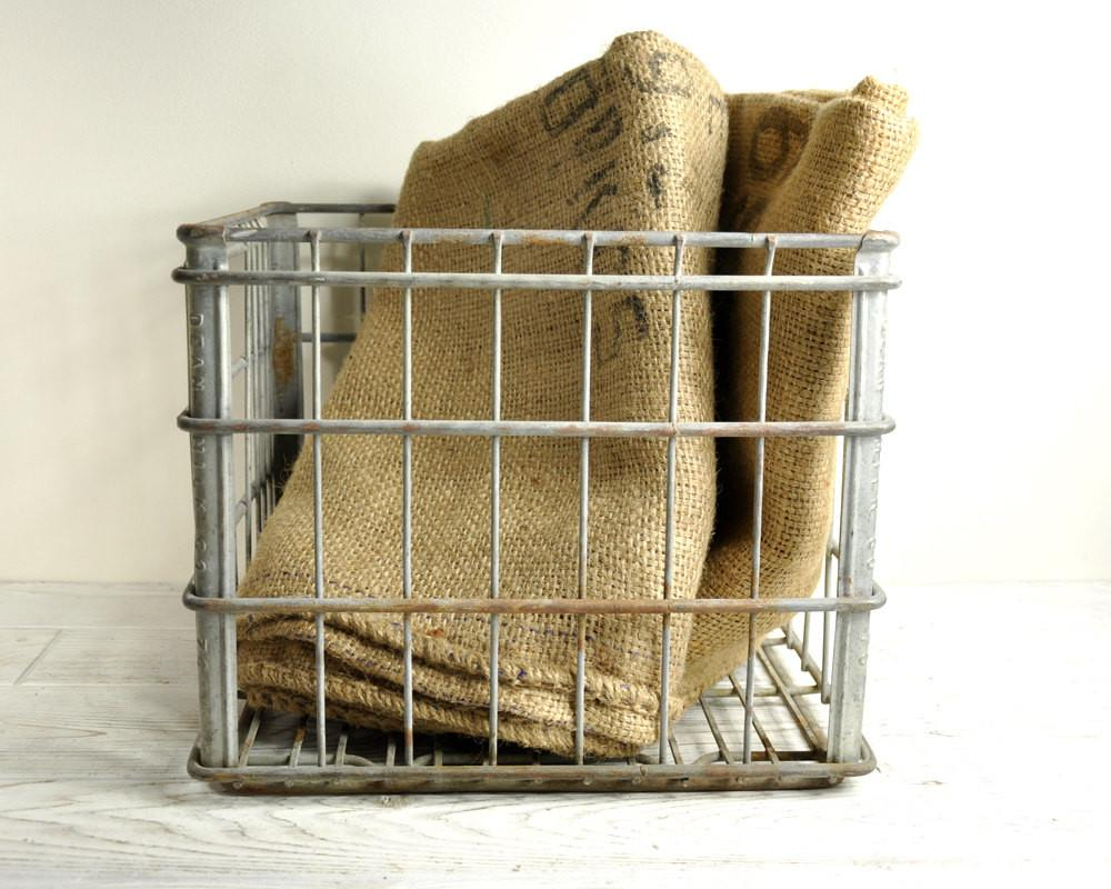 Vintage Metal Crate Wire Milk Basket