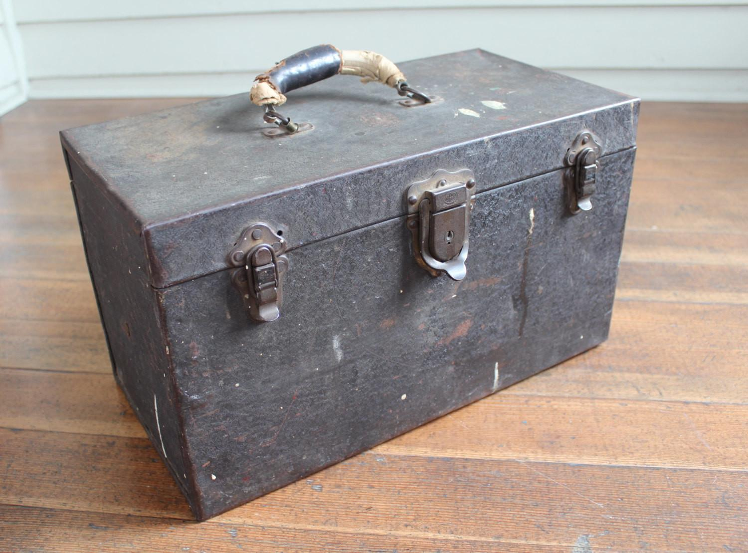Vintage Metal Tool Box Leather Handle Removable Tray
