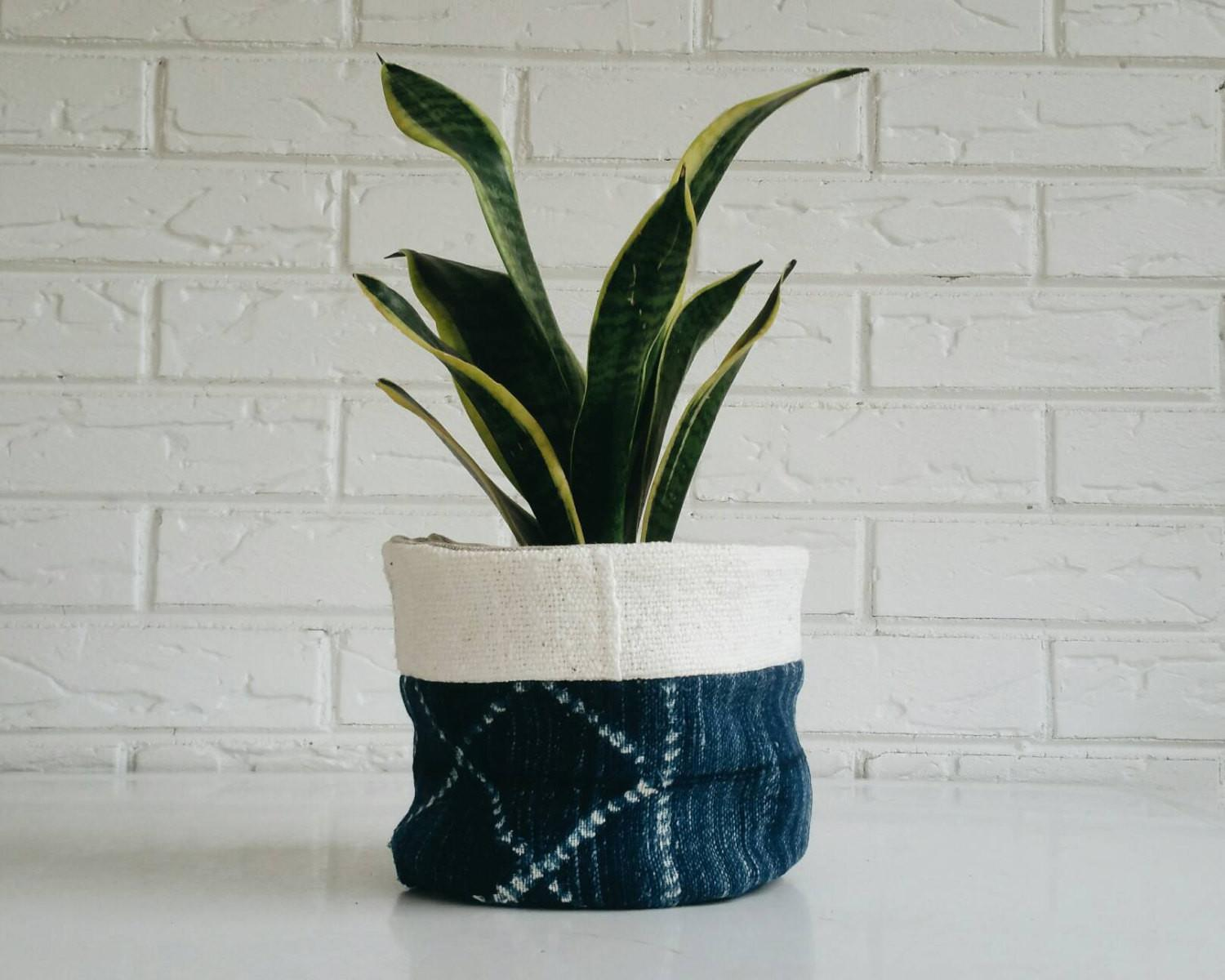 Vintage Mudcloth Plant Cover Planter Fabric