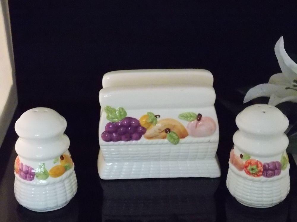 Vintage Napkin Holder Salt Pepper Shakers Set Sets