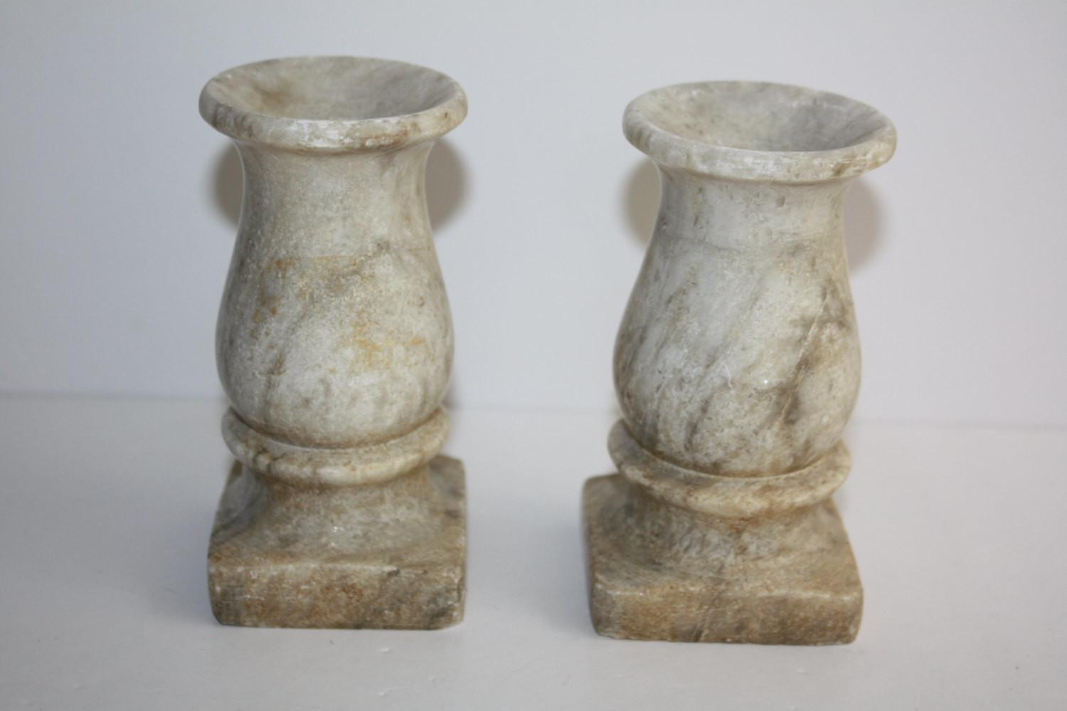 Vintage Pair Stone Candle Holders Candlesticks Marble