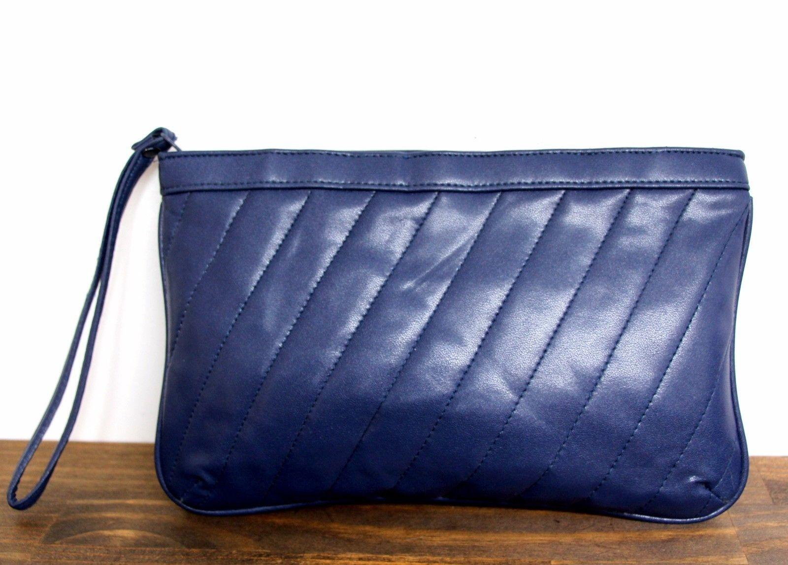 Vintage Quilted Deep Blue Genuine Leather Wrist Strap