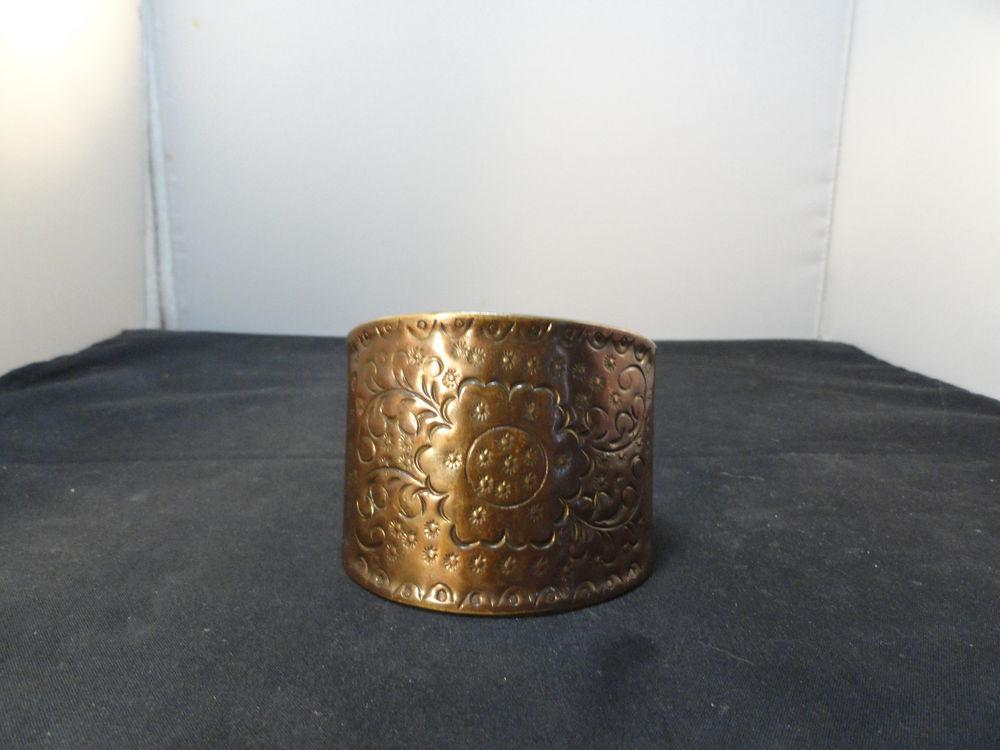 Vintage Retro Hand Etched Stamped Floral Wide Copper Cuff