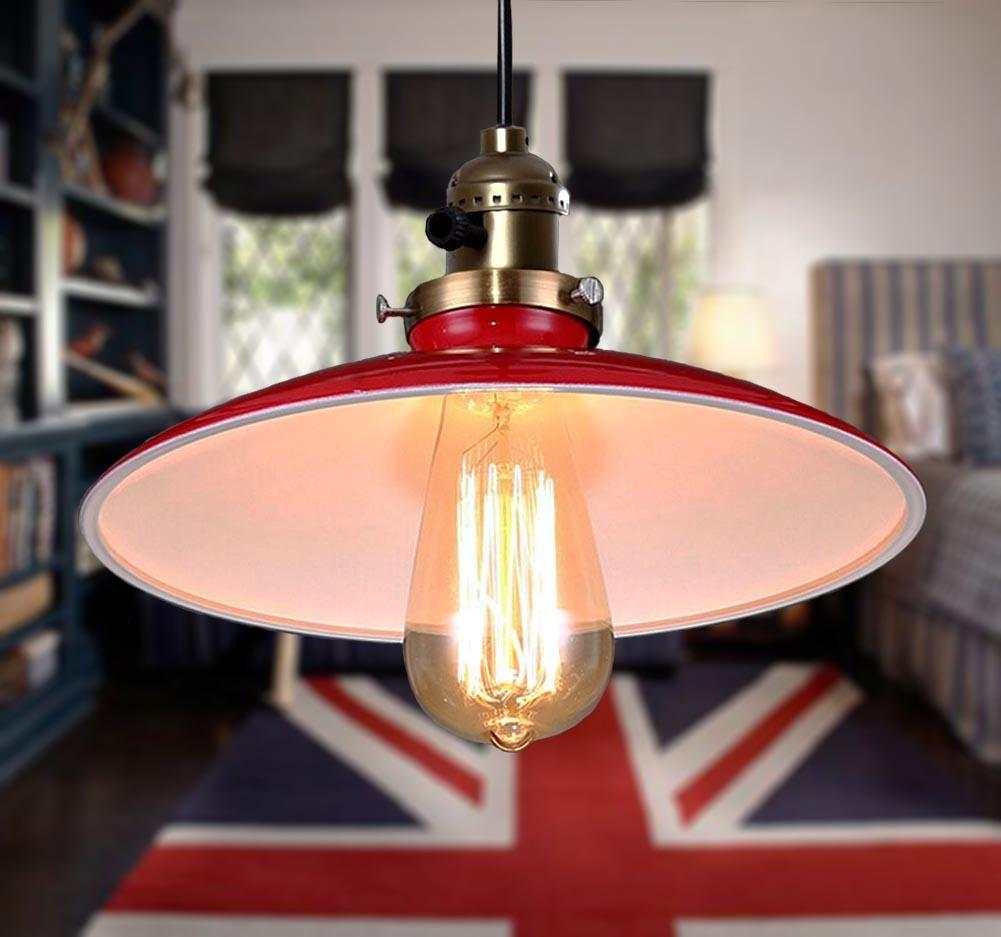 Vintage Retro Industrial Diy Red Metal Ceiling Lamp