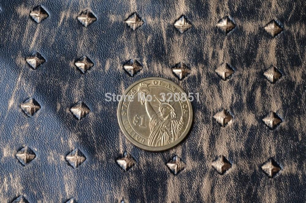 Vintage Rivets Embossed Faux Leather Fabric Home Decor