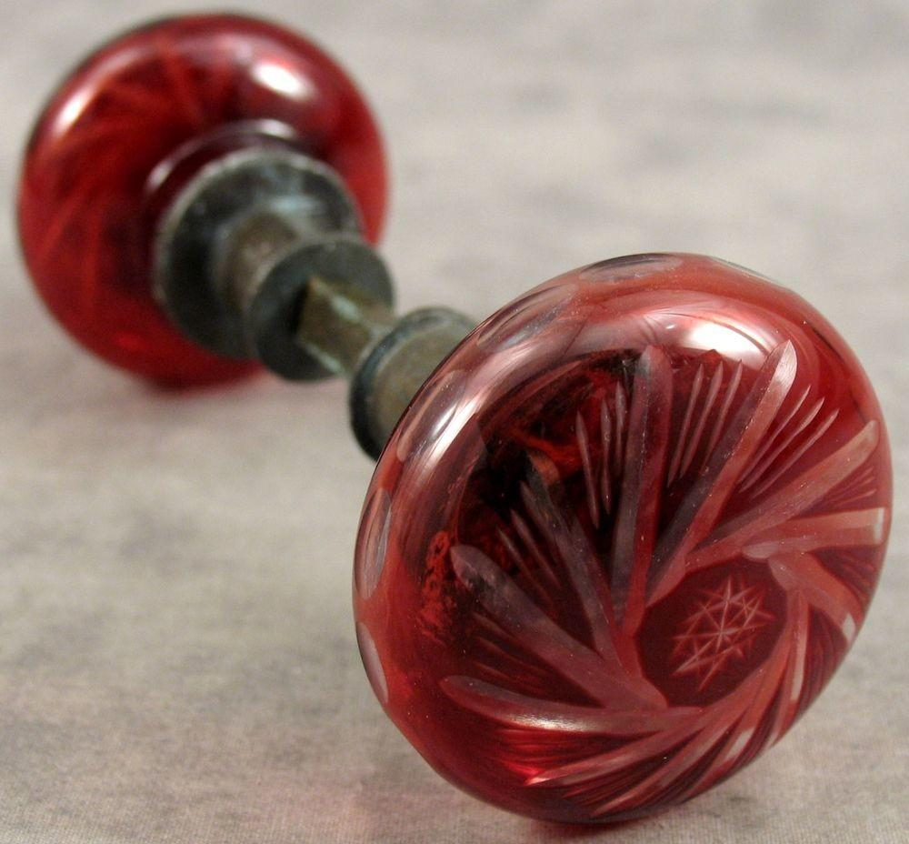 Vintage Ruby Red Cut Glass Door Knob Set Connecting Rod
