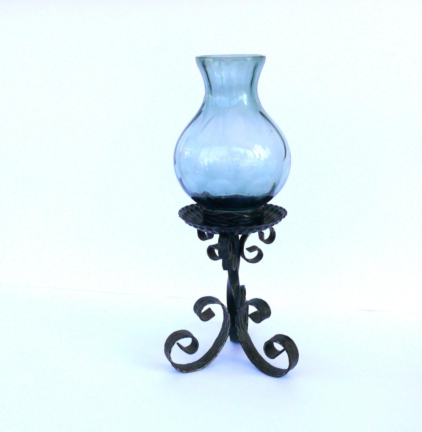 Vintage Rustic Wrought Iron Candle Holder Metal Stick