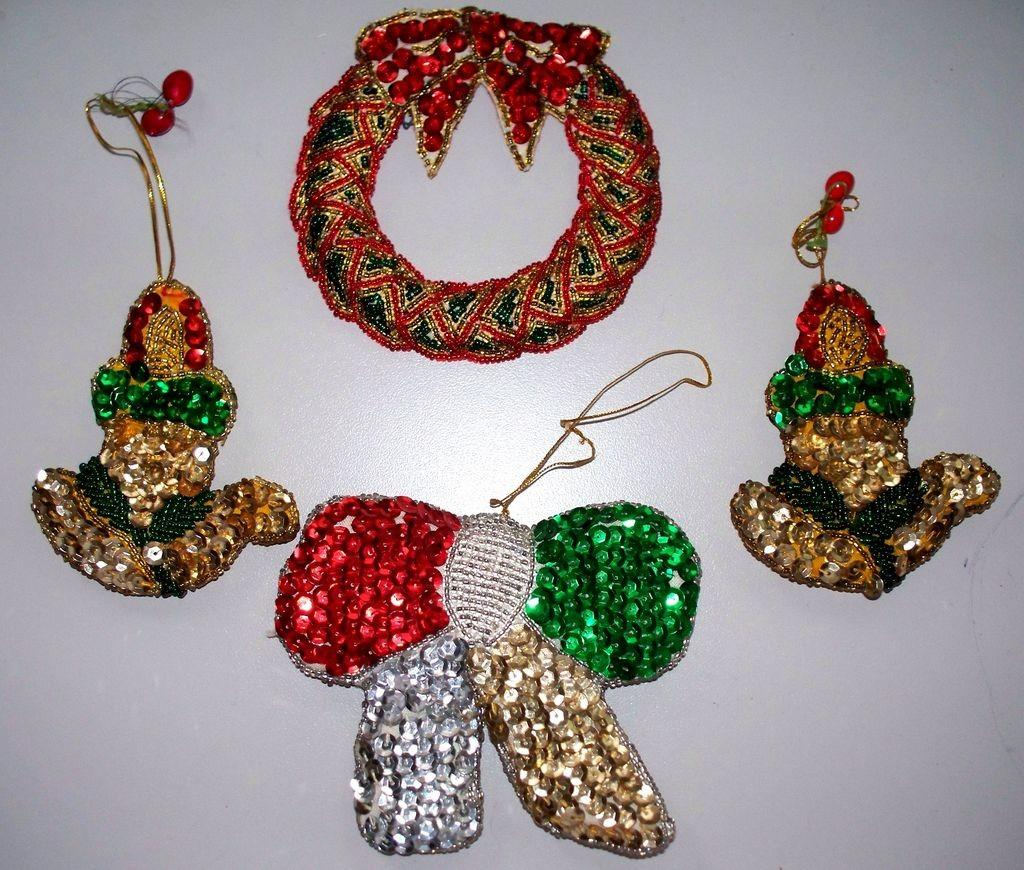 Vintage Sequin Christmas Ornaments All