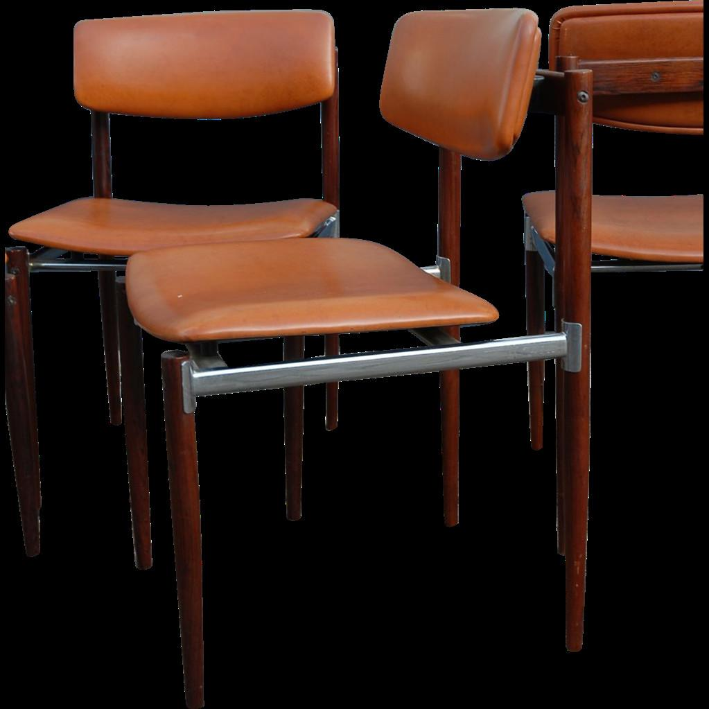Vintage Set Rosewood Chrome Design Dinning Chairs