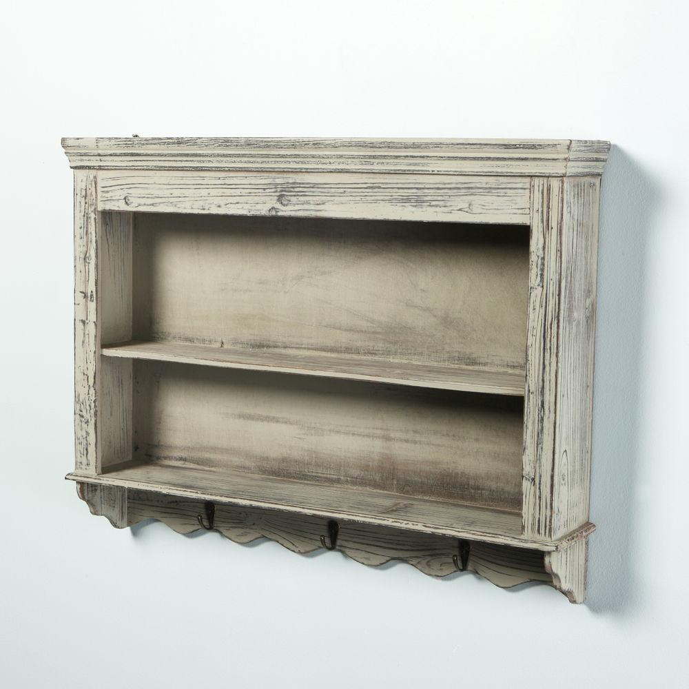 Vintage Shabby Chic Distressed Wooden Wall Shelves
